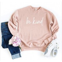BE KIND Plush Crew Neck Sweater - Peach