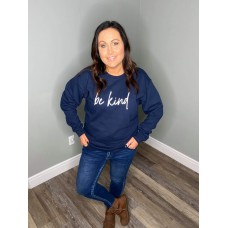 Be Kind Script Cozy Crew Neck Sweater Navy/White